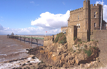 Clevedon Pier - The full length of the pier along with the stone Toll House